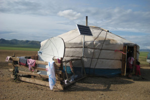 Ger with solar panels in Mongolia